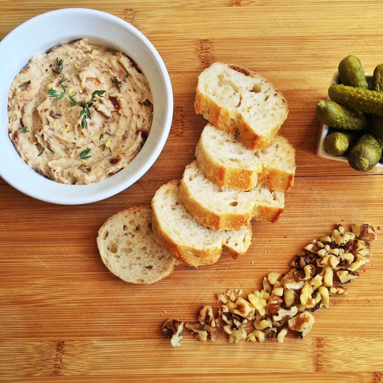 White Bean and Sun-dried Tomato Pâté with Baguette and Cornichons